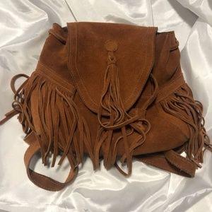 Ecote Cognac Colored Suede Fringe Mini Backpack